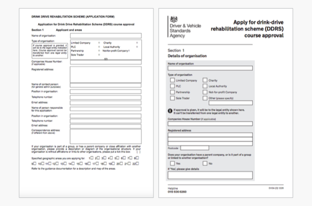 Application form to set up a drink-drive course: before and after