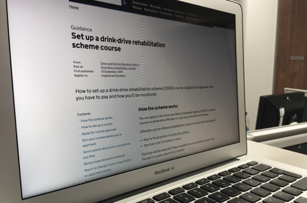 Macbook screen showing the set up a drink-drive rehabilitation scheme course on GOV.UK