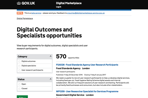 Digital Outcomes and Specialists opportunities