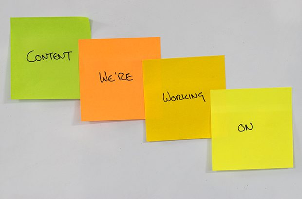 Content we're working on written on post-it notes