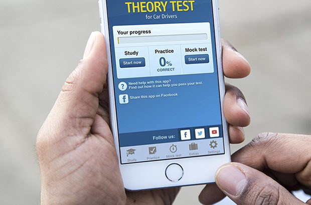 DVSA theory test app being used on a mobile phone