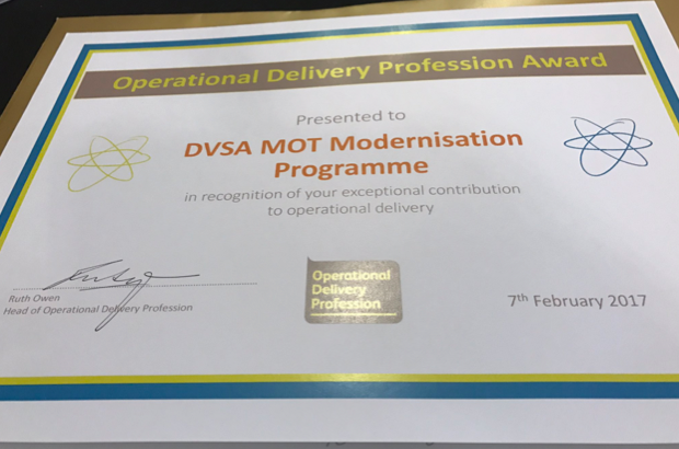 DVSA MOT modernisation programme Operational Delivery Profession Award