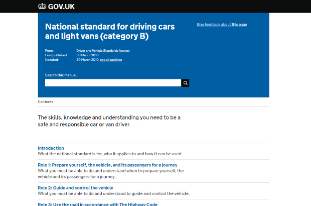 National standard for driving cars and light vans GOV.UK page