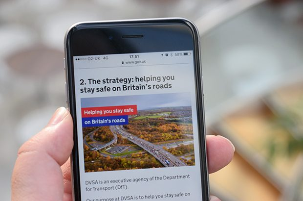 DVSA's strategy for 2017 to 2022 being read on a mobile phone