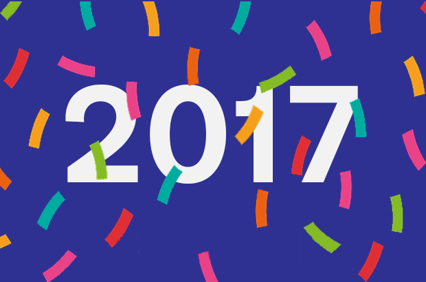 Graphic saying 2017 with confetti