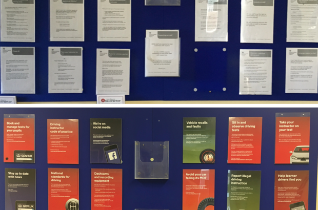 Before and after photo of posters displayed in driving test waiting rooms