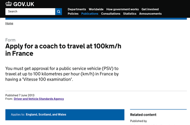 Screenshot of the GOV.UK page to apply for a coach to travel at 100km/h in France