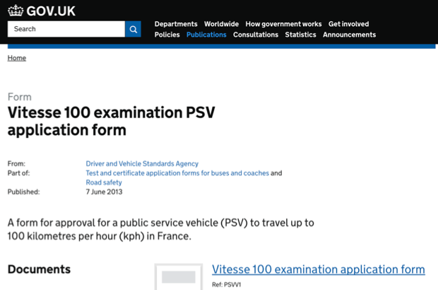 A screenshot of the page on GOV.UK to apply for a coach to travel at up to 100km/h in France, before it was improved