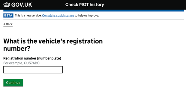Screenshot showing the service to check the MOT history of a vehicle on GOV.UK