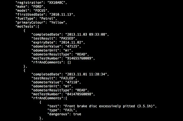 Screenshot showing an example response from the MOT API