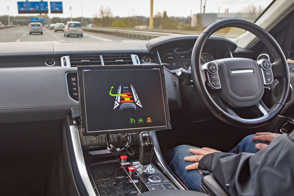 Autonomous car being driven on a motorway