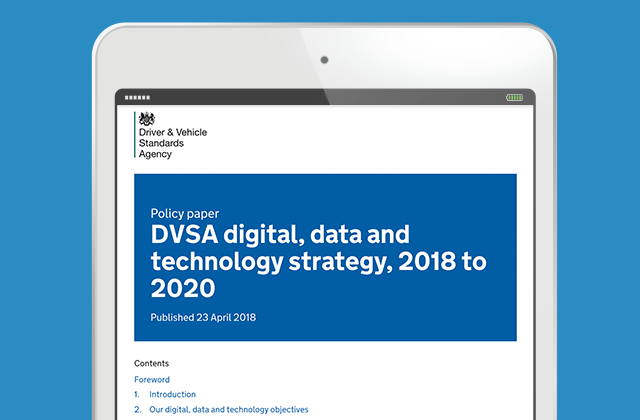 DVSA digital, data and technology strategy being displayed on an iPad