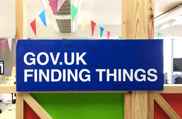Sign in an office saying 'GOV.UK finding things'