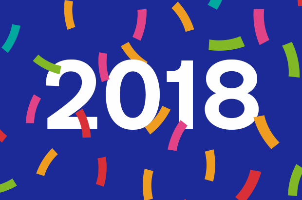 Image of '2018' surrounded by confetti