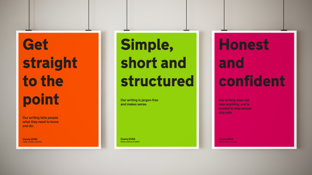 Image of 3 posters showing the principles for our Clearly DVSA campaign to promote better writing