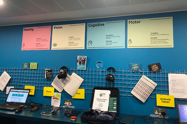 Photo of the empathy lab at GDS, showing equipment to test how accessible content and services are