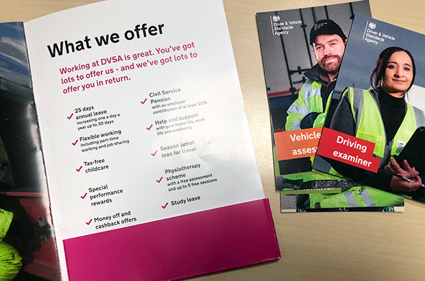 Photo of 'Working at DVSA' pack and job role postcards