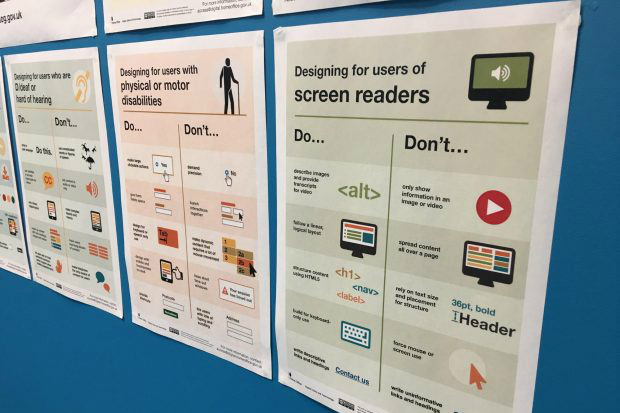 Photo of a set of posters about designing for accessibility displayed on a wall