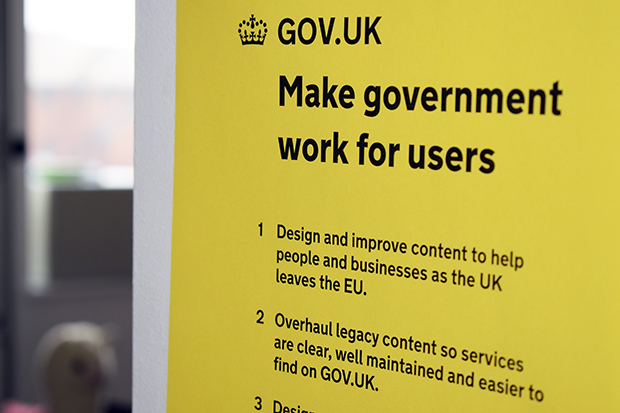 A photo of a poster showing DVSA's priorities for GOV.UK for 2019 to 2020, with the heading of 'Make government work for users'